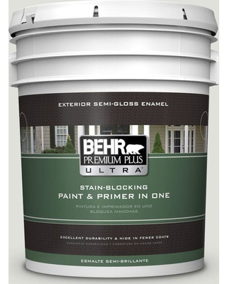 BEHR ULTRA 5 gal. #GR-W06 Winds Breath Semi-Gloss Enamel Exterior Paint and Primer in One