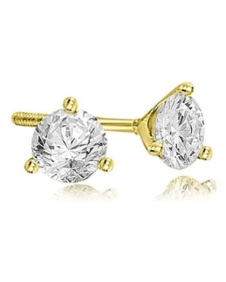 1.00 CT Round Cut Diamond Martini 3-Prong Stud Earrings in 14KT