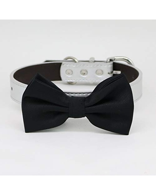 Burgundy Bow tie collar Leather dog Ivory Blue orange Lilac Navy black brown or Black collar dog of honor dog ring bearer Puppy XS to XXL collar and bow tie