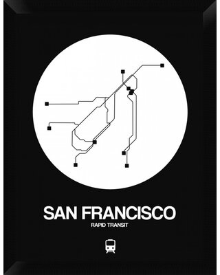 'San Francisco White Subway Map' Framed Graphic Art Print on Canvas