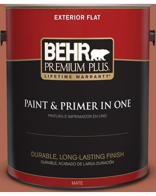 BEHR PREMIUM PLUS 1 gal. #220D-7 Mojave Sunset Flat Exterior Paint and Primer in One