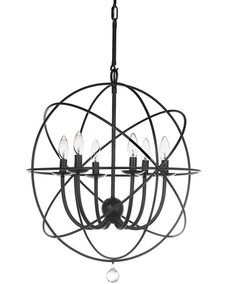 SAFAVIEH Evie 6-Light Black Candle-Style Cage Chandelier