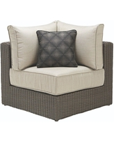 Home Decorators Collection Naples Brown All-Weather Wicker Corner Outdoor Sectional Chair with Putty Cushions