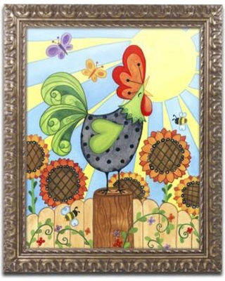 """Trademark Art 'Rise and Shine' Framed Graphic Art on Canvas ALI3262-G1114F / ALI3262-G1620F Size: 14"""" H x 11"""" W x 0.5"""" D"""