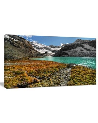 """Design Art 'Crystal Clear Lake among Mountains' Photographic Print on Wrapped Canvas PT14511- Size: 16"""" H x 32"""" W"""