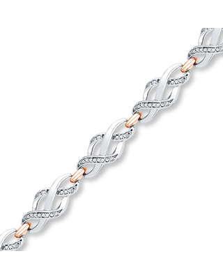 Diamond Bracelet 1/10 ct tw Round-cut Sterling Silver/10K Gold