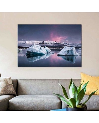 "East Urban Home 'The Glacier Lagoon' Graphic Art Print on Canvas EBHU6991 Size: 12"" H x 18"" W x 1.5"" D"