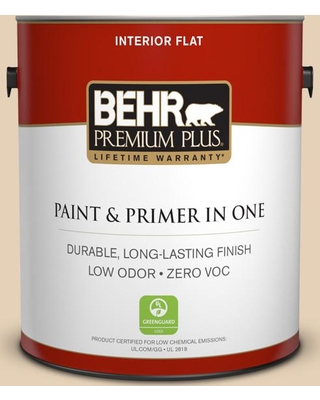 BEHR Premium Plus 1 gal. #S280-2 Beach Grass Flat Low Odor Interior Paint and Primer in One