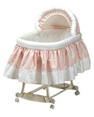 """BabyDoll Pretty Pique Bassinet Liner and Hood, Pink, 13""""x29"""""""