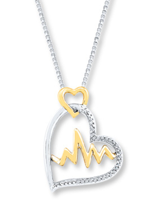 Heartbeat Necklace 1/15 ct tw Diamonds Sterling Silver/10K Gold