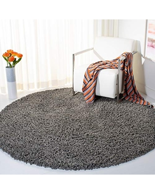 """Safavieh August Shag Collection AUG200F 1.5-inch Thick Area Rug, 6' 7"""" Round, Grey"""