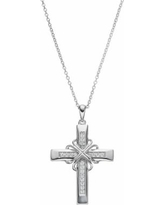 """Sentimental Expressions Sterling Silver Cubic Zirconia Steadfast Love Cross Necklace, Women's, Size: 18"""", White"""