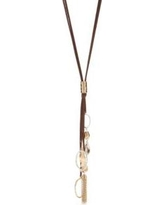 New Directions Brown Two-Tone Tassel Drop Necklace