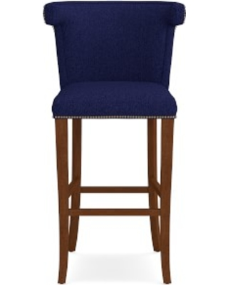 Regency Bar Stool, Antique Brass, Perennials Performance Basketweave, Indigo, Walnut Leg