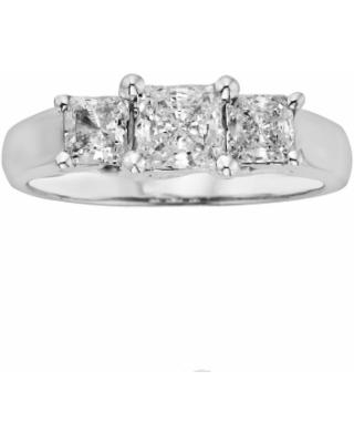 18k White Gold 1-ct. T.W. IGL Certified Princess-Cut Colorless Diamond 3-Stone Ring, Women's, Size: 6