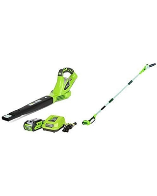 Greenworks 40V 150 MPH Variable Speed Cordless Blower, 2.0 AH Battery Included 24252 with 8.5' 40V Cordless Pole Saw, 2.0 AH Battery Included 20672