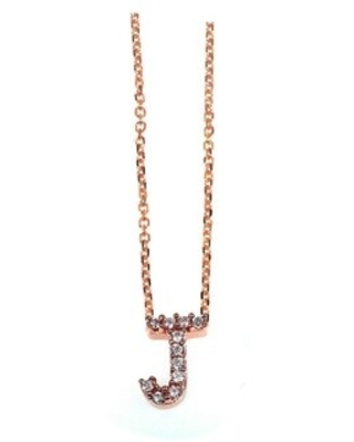 Annello by Kobelli Rose Gold Small Dainty Personal Initial A-Z Letter Diamond 10k Pendant (14k Chain) (J)
