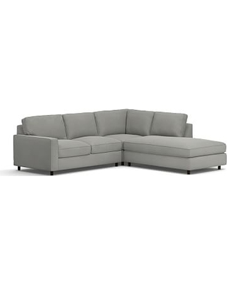 PB Comfort Square Arm Upholstered Left 3-Piece Bumper Sectional, Box Edge Memory Foam Cushions, Performance Everydaysuede(TM) Metal Gray
