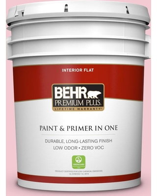 BEHR Premium Plus 5 gal. #P160-1 Angel Kiss Flat Low Odor Interior Paint and Primer in One