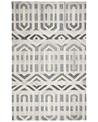 Caper Geometric Hand-Tufted Wool Gray Area Rug Rug Size: Rectangle 8' x 10'