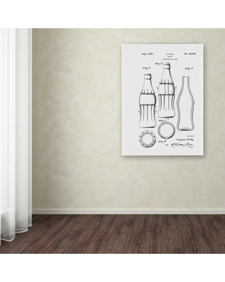 """Trademark Fine Art 19 in. x 14 in. """"Coca Cola Bottle Patent 1937"""" by Claire Doherty Printed Canvas Wall Art, Multi"""