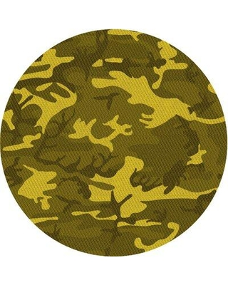 East Urban Home Abstract Yellow Area Rug X113669947 Rug Size: Round 4'