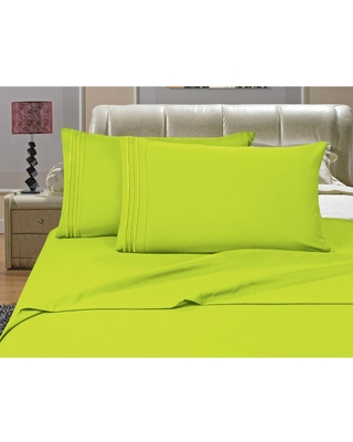 Elegant Comfort 1500 Series 4-Piece Lime (Green) Triple Marrow Embroidered Pillowcases Microfiber Full Size Bed Sheet Set