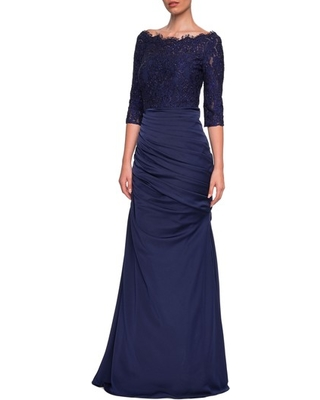 18a5634e220 Spring Shopping Special  Women s La Femme Lace Top Trumpet Gown ...