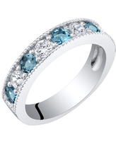 0.75 ct Round London Blue Topaz Stacking Ring in Sterling Silver