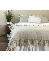Natural Linen Country Ruffle Duvet Cover, Shabby Chic Linen Bedding, Linen Ruffle Bedding, Ruffle Duvet Cover, Shabby Chic Bedding, Luxury Bedding Collections, FREE SHIPPING
