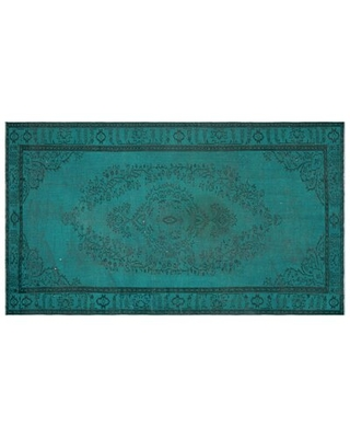 """One-of-a-Kind Hand-Knotted 1960s Turkish Turquoise 5'8"""" x 9'11"""" Area Rug"""