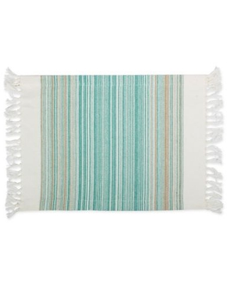DII Striped Fringe Placemats in Teal (Set of 6)