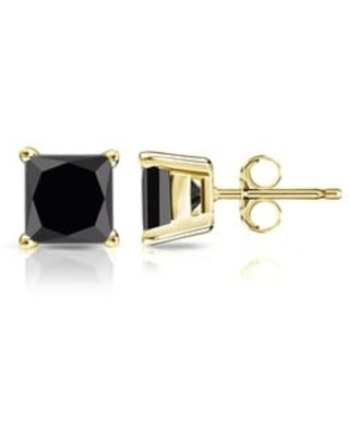 Auriya 1 1/4ctw Princess-cut Black Diamond Stud Earrings 14k Gold (Yellow)