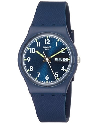 Swatch Originals Swiss-Quartz Silicone Strap, Blue, 19 Casual Watch (Model: GN718)