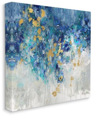 Stupell Industries Abstract Blue Gold Paint Design Canvas Wall Art by Nikki Robbins