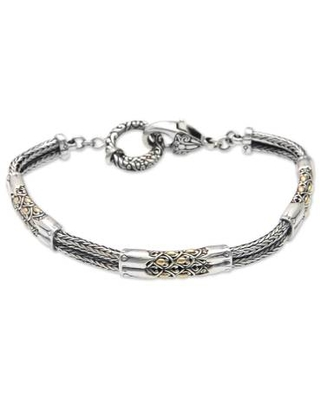 Artisan Crafted 18K Gold Accent Braided Sterling Silver Link Bracelet