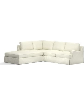 PB English Slipcovered Right 3-Piece Bumper Sectional, Down Blend Wrapped Cushions, Performance Slub Cotton Ivory