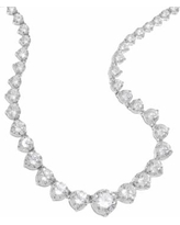 DiamonLuxe Sterling Silver 20-ct. T.W. Simulated Diamond Graduated Necklace, Women's, White