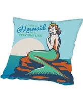 """Americanflat Mermaid in A Previous Life Throw Pillow A40P571PILL Size: 16"""" H x 16"""" W x 2"""" D"""