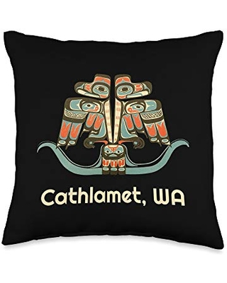 Cathlamet WA Native American Indian Thunderbird Cathlamet Washington Thunderbird NW Native American Throw Pillow, 16x16, Multicolor