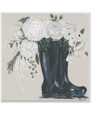 """The Stupell Home Decor Collection 12 in. x 12 in. """"White Flower Arrangement in Black Boots Painting"""" by Penny Lane Publishing Wood Wall Art, Multi-Colored"""