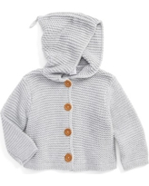 Infant Nordstrom Baby Organic Cotton Hooded Cardigan, Size 3M - Grey