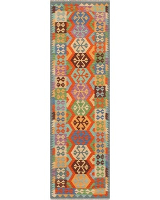 """One-of-a-Kind Ceporah Hand-Knotted 1990s 2'8"""" x 9'11"""" Runner Wool Area Rug in Blue/Rust"""