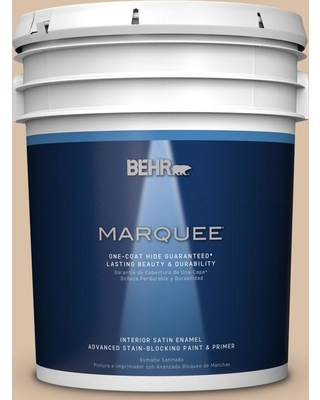 BEHR MARQUEE 5 gal. #S240-3 Ash Blonde One-Coat Hide Satin Enamel Interior Paint and Primer in One