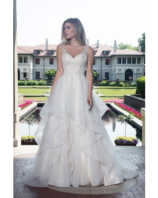 Rachel Allan Bridal - M612 Foliage Embroidered Tiered Bridal Gown