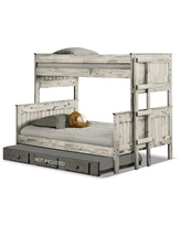 Bafra Twin Extra Long Over Full Standard Bunk Bed by Isabelle & Max™ Wood in White, Size 80.75 W x 56.0 D in   Wayfair