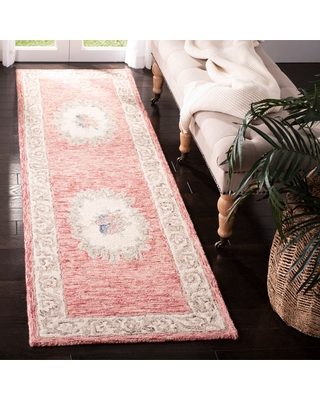 """Safavieh Hand-Tufted Aubusson Traditional - Red/Ivory Wool Rug - 2'3"""" x 8' Runner"""
