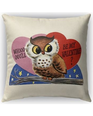 "KAVKA DESIGNS Be My Valentine Burlap Indoor/Outdoor Throw Pillow ODP-OD-TEL8151 Size: 18"" H x 18"" W"