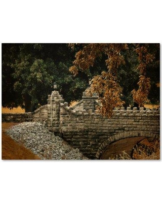 "Trademark Art 'Stone Bridge In Autumn' Photographic Print on Wrapped Canvas ALI14207-C Size: 14"" H x 19"" W"