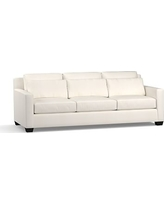 """York Square Arm Upholstered Deep Seat Grand Sofa 94"""", Down Blend Wrapped Cushions, Denim Warm White"""